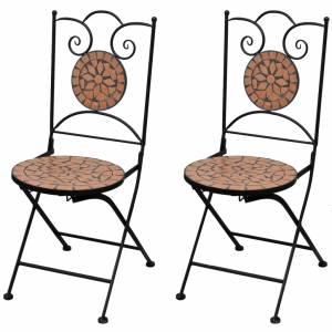 Καρέκλες Bistro Πτυσσόμενες 2 τεμ. Τερακότα Κεραμικές
