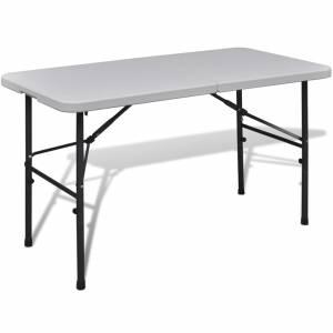 Τραπέζι Βαλίτσα Πτυσσόμενο Κήπου Λευκό 122 cm