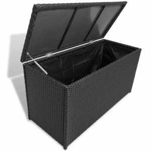 Κουτί Αποθήκευσης Κήπου Μαύρο 120x50x60 εκ. από Συνθετικό Ρατάν