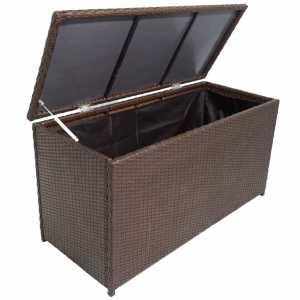 Κουτί Αποθήκευσης Κήπου Καφέ 120x50x60 εκ. από Συνθετικό Ρατάν