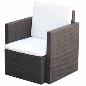 Πολυθρόνα Καφέ 65 x 65 x 73 εκ. από Συνθετικό Ρατάν