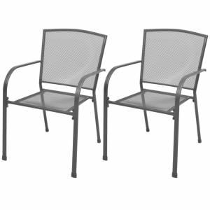 Καρέκλες Κήπου Στοιβαζόμενες 2 τεμ. Γκρι Ατσάλινες