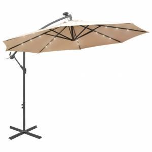 Ομπρέλα Κρεμαστή με LED Χρώμα Άμμου 300 εκ. Μεταλλικός Ιστός