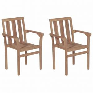 Καρέκλες Εξωτερικού Χώρου Στοιβαζόμενες 2 τεμ. Μασίφ Ξύλο Teak