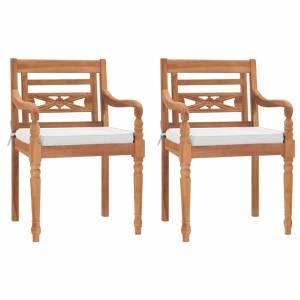 Καρέκλες Batavia 2 τεμ. από Μασίφ Ξύλο Teak με Μαξιλάρια