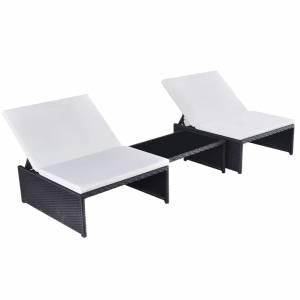 Ξαπλώστρες 2 τεμ. Μαύρες από Συνθετικό Ρατάν με Τραπέζι
