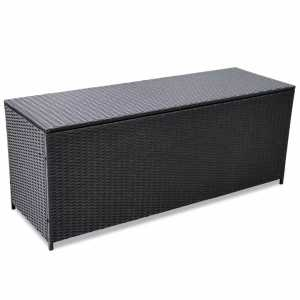 Μπαούλο Εξωτερικού Χώρου Μαύρο 150 x 50 x 60 εκ Συνθετικό Ρατάν