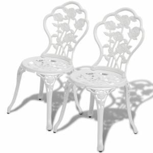 Καρέκλες Bistro 2 τεμ. Λευκές από Χυτό Αλουμίνιο
