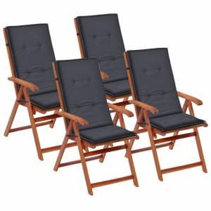 Μαξιλάρια Καρέκλας Κήπου με Πλάτη 4 τεμ. Ανθρακί 120x50x4 εκ.