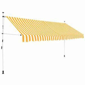 Τέντα Συρόμενη Χειροκίνητη Κίτρινη με Λευκές Ρίγες 350 εκ.