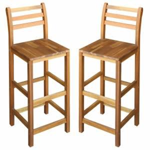 Καρέκλες Μπαρ 2 τεμ. από Μασίφ Ξύλο Ακακίας