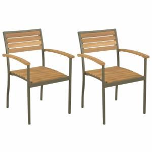 Καρέκλες Κήπου Στοιβαζόμενες 2 τεμ. Μασίφ Ξύλο Ακακίας / Ατσάλι
