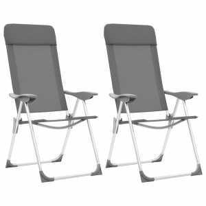 Καρέκλες Camping Πτυσσόμενες 2 τεμ. Γκρι από Αλουμίνιο