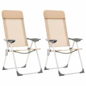 Καρέκλες Camping Πτυσσόμενες 2 τεμ. Κρεμ από Αλουμίνιο