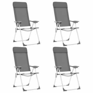 Καρέκλες Camping Πτυσσόμενες 4 τεμ. Γκρι από Αλουμίνιο