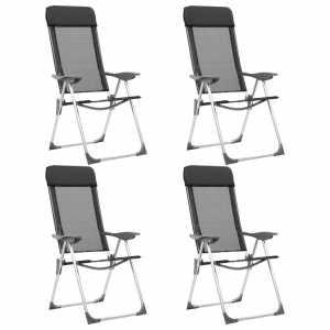 Καρέκλες Camping Πτυσσόμενες 4 τεμ. Μαύρες από Αλουμίνιο