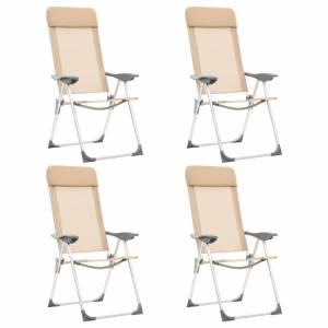 Καρέκλες Camping Πτυσσόμενες 4 τεμ. Κρεμ από Αλουμίνιο