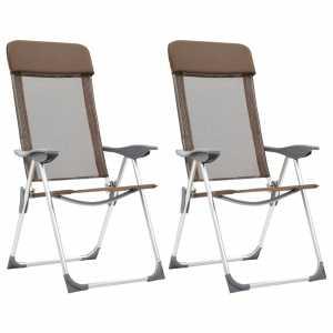 Καρέκλες Camping Πτυσσόμενες 2 τεμ. Καφέ από Αλουμίνιο