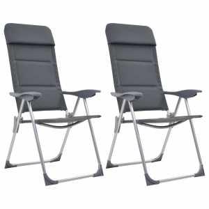 Καρέκλες Camping 2 τεμ. Γκρι 58 x 69 x 111 εκ. από Αλουμίνιο