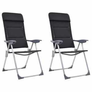 Καρέκλες Camping 2 τεμ. Μαύρες 58 x 69 x 111 εκ. από Αλουμίνιο