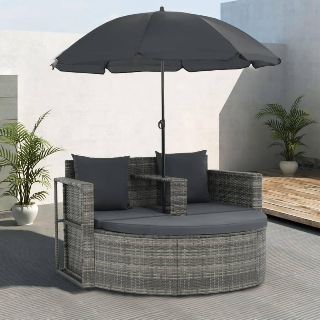 Καναπές Κήπου Διθέσιος Γκρι Συνθετικό Ρατάν + Μαξιλάρια/Ομπρέλα