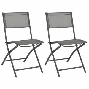 Καρέκλες Εξωτερικού Χώρου Πτυσσόμενες 2 τεμ. Ατσάλι / Textilene