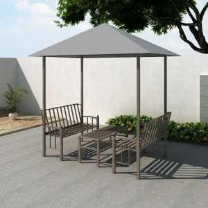 Κιόσκι Κήπου με Τραπέζι και Παγκάκια Ανθρακί 2,5 x 1,5 x 2,4 μ.