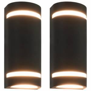 Φωτιστικά Τοίχου Εξωτερικού Χώρου 2 τεμ. Ημικυκλικά Μαύρα 35W
