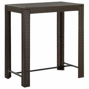 Τραπέζι Μπαρ Κήπου Καφέ 100x60,5x110,5 εκ. από Συνθετικό Ρατάν