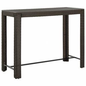 Τραπέζι Μπαρ Κήπου Καφέ 140,5x60,5x110,5 εκ. Συνθετικό Ρατάν