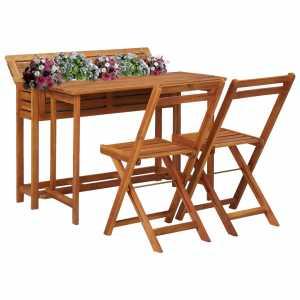 Τραπέζι με Γλάστρα και 2 Καρέκλες Μπιστρό Μασίφ Ξύλο Ακακίας