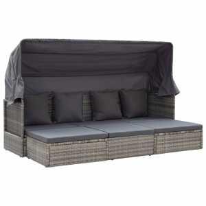 Κρεβάτι-Σαλόνι Κήπου Αποχρώσεις Γκρι Συνθετικό Ρατάν με Οροφή