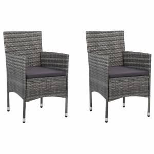 Καρέκλες Τραπεζαρίας Κήπου 2 τεμ. Γκρι από Συνθετικό Ρατάν