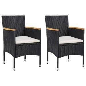 Καρέκλες Τραπεζαρίας Κήπου 2 τεμ. Μαύρες από Συνθετικό Ρατάν