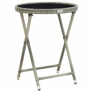 Τραπέζι Βοηθητικό Γκρι 60 εκ. Συνθετικό Ρατάν / Ψημένο Γυαλί