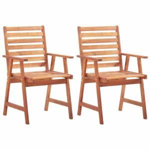 Καρέκλες Τραπεζαρίας Εξωτερικού Χώρου 2 τεμ. Μασίφ Ξύλο Ακακίας