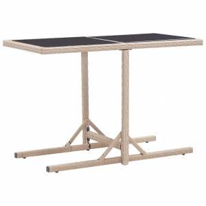 Τραπέζι Κήπου Μπεζ 110x53x72 εκ. Γυάλινο και Συνθετικό ρατάν