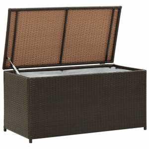 Κουτί Αποθήκευσης Κήπου Καφέ 100x50x50 εκ. από Συνθετικό Ρατάν