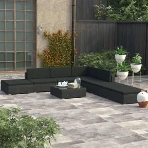 Σαλόνι Κήπου 8 Τεμαχίων Μαύρο από Συνθετικό Ρατάν με Μαξιλάρια