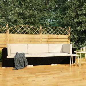 Σετ Καναπέ Κήπου 3 Τεμαχίων Μαύρο Συνθετικό Ρατάν με Μαξιλάρια