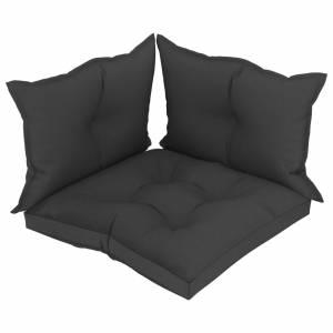 Μαξιλάρια Καναπέ Παλέτας 3 τεμ. Μαύρα Υφασμάτινα