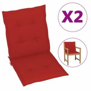 Μαξιλάρια Καρέκλας Κήπου με Πλάτη 2 τεμ. Κόκκινα 100x50x3 εκ.