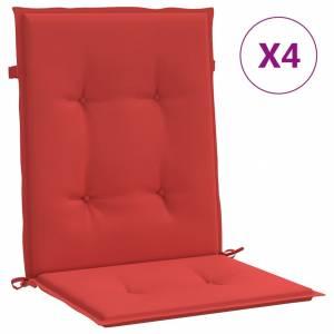 Μαξιλάρια Καρέκλας Κήπου με Πλάτη 4 τεμ. Κόκκινα 100x50x4 εκ.