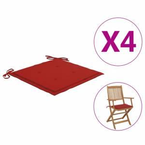 Μαξιλάρια Καρέκλας Κήπου 4 τεμ. Κόκκινα 40 x 40 x 3 εκ.