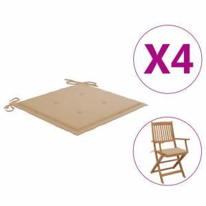 Μαξιλάρια Καρέκλας Κήπου 4 τεμ. Μπεζ 40 x 40 x 3 εκ.