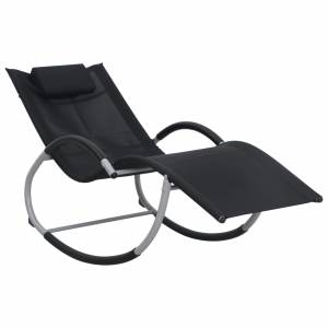 Ξαπλώστρα Μαύρη από Textilene με Μαξιλάρι