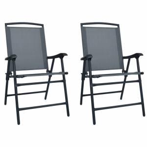 Καρέκλες Κήπου Πτυσσόμενες 2 τεμ. Γκρι από Textilene
