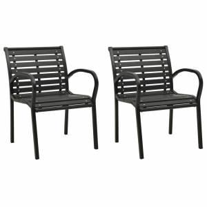 Καρέκλες Κήπου 2 τεμ. Γκρι από Ξύλο