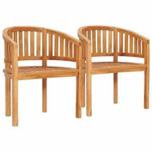Πολυθρόνες με Καμπυλωτή Πλάτη 2 τεμ. από Μασίφ Ξύλο Teak