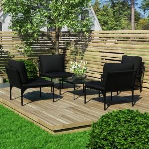 Σαλόνι Κήπου 5 Τεμαχίων Μαύρο από PVC με Μαξιλάρια